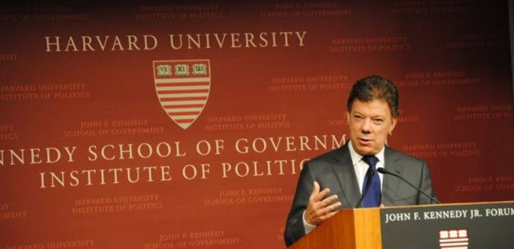"""War is more politically popular than peace,"" Colombian President Juan Manuel Santos says during a speech at Harvard"