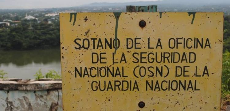 A rusty sign marks the spot where basement cells on Managua's Loma de Tiscapa were used for torture by the National Guard. Nearby is the nefarious El Chipote prison, which the opposition wants to convert into a type of torture museum (photo/ Tim Rogers)