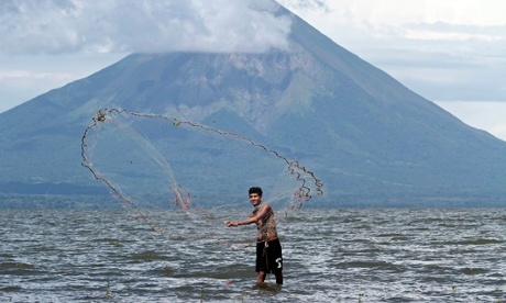 The canal will slice through the Reserva Natural Cerro Silva and then cross Lake Nicaragua close to the island of Ometepe. Photograph: Oswaldo Rivas/Reuters