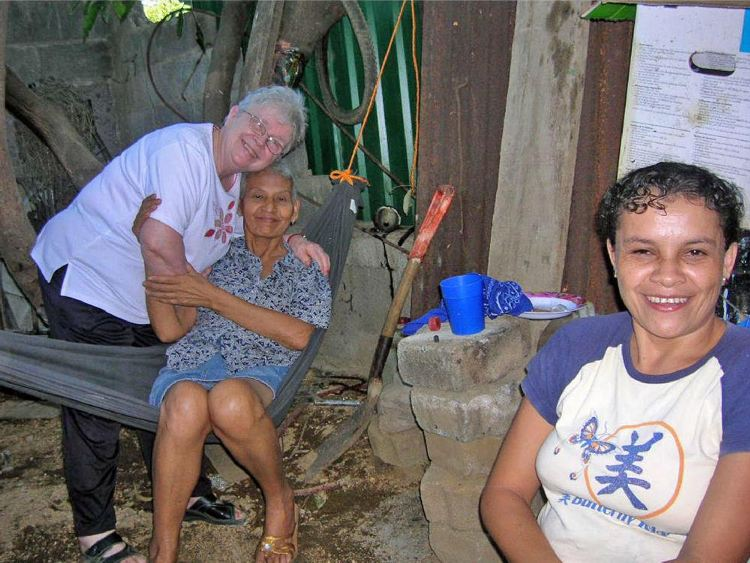 Maureen Monette poses with Paula Alcaron and her daughter, Victoria, during a trip to Nicaragua in 2010 to discuss the needs of the newly formed Women's Cancer Prevention and Treatment Project. Paula Alcaron died a few months after the photo was taken.