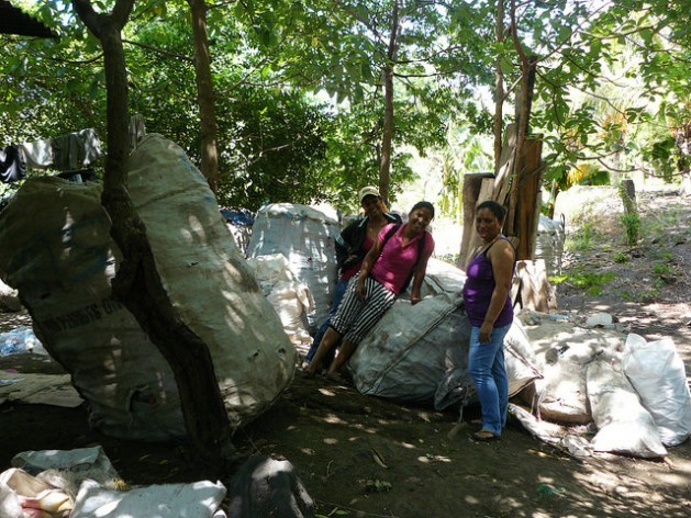 Women from the community of Balgüe working with waste materials donated to the Association of Women Recyclers of Altagracia on the island of Ometepe in Nicaragua. Credit: Karin Paladino/IPS