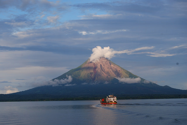 The Concepción volcano, one of the two that are found on the island of Ometepe in the middle of Lake Nicaragua, seen from the port of San Jorge in the western department or province of Rivas. Credit: Karin Paladino/IPS