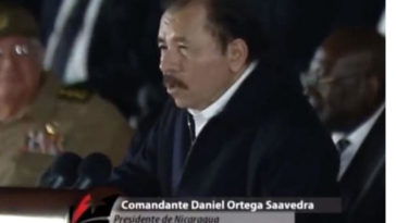 Daniel Ortega speaking at the memorial service for Fidel Castro in La Havana Tuesday night