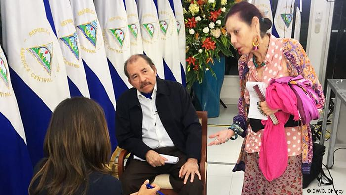 f3b91baf120 No interview with Daniel Ortega can taake place without the overwatch of  his wife and vice-president Rosario Murillo. DW